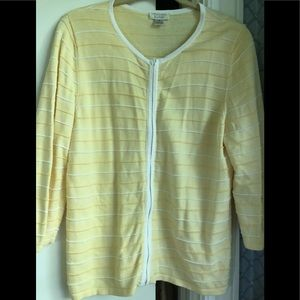 Front zip yellow and white cardigan jacket.